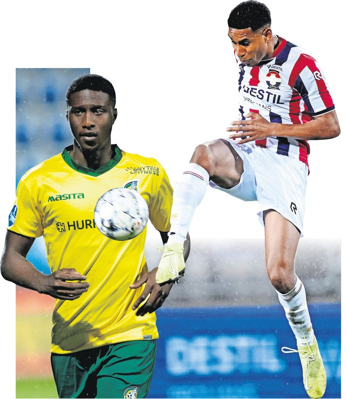 De voetbalvrienden Djibril Dianessy van Fortuna Sittard en Driess Saddiki van Willem II.