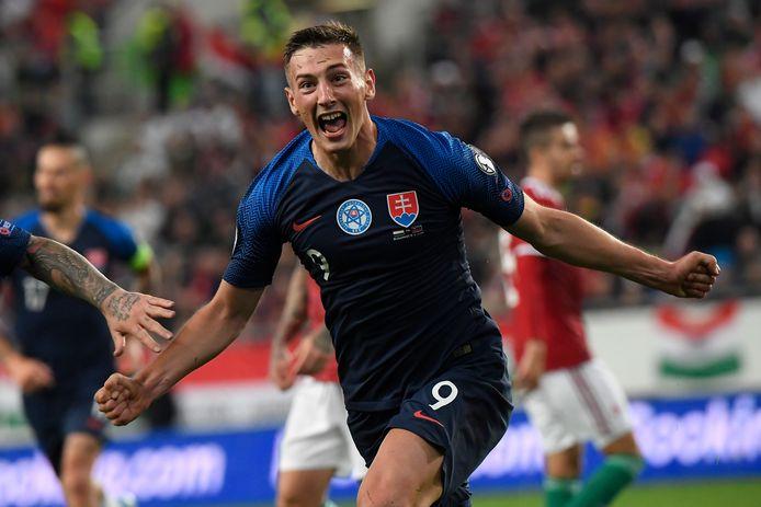 Robert Bozenik juicht tijdens Hongarije - Slowakije op 9 september 2019. Hij scoorde tot op heden vier keer in acht interlands.