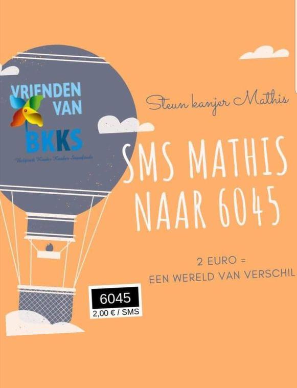 De actie steunen kan door 'Mathis' te sms'en naar 6045, 1 sms kost 2 euro.