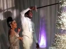 Hiphopbruiloft: bruidstaart van 60.000 euro aansnijden met een zwaard