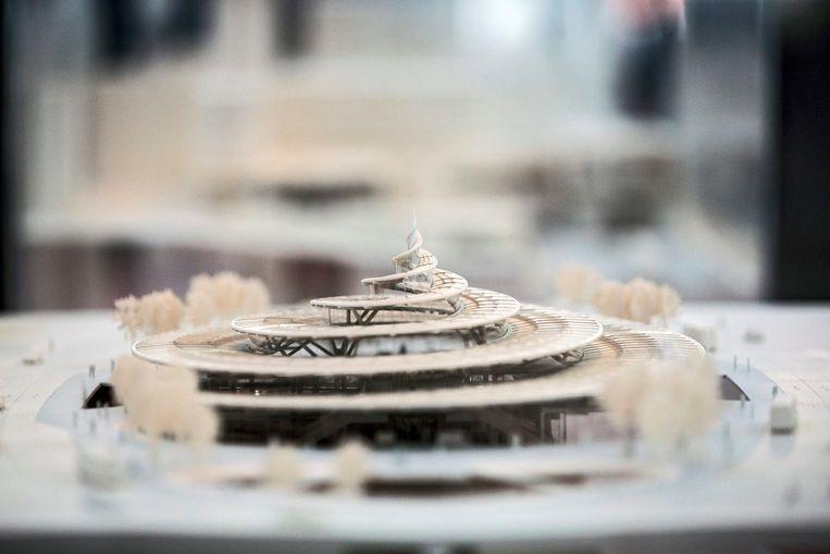 Een maquette van het toekomstige metrostation van Noisy-Champs . Beeld epa