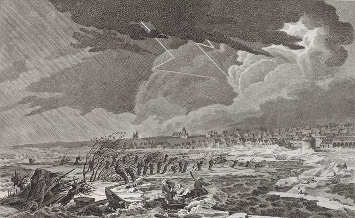 Rampliederen:  een afbeelding van Nijmegen in een storm in 1799.