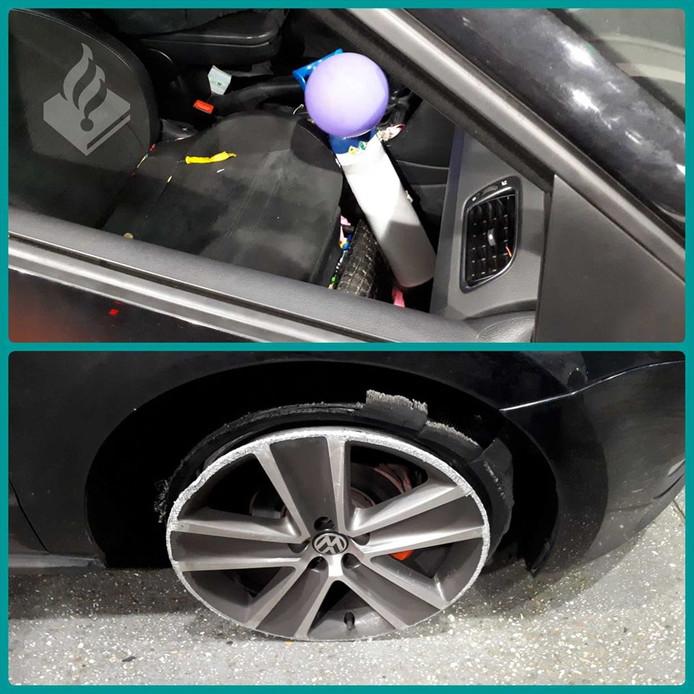 De automobilist reed rond zonder velg en was onder invloed van lachgas.