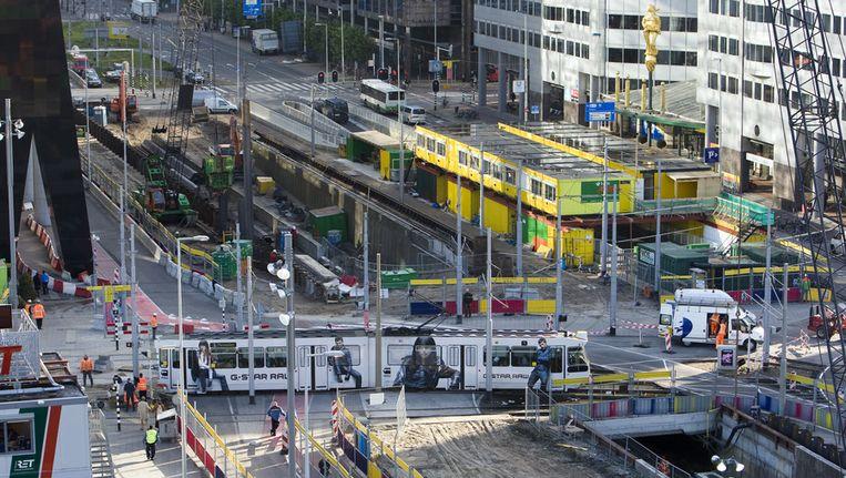 Overzichtsfoto van het Weena donderdag in Rotterdam. Beeld anp