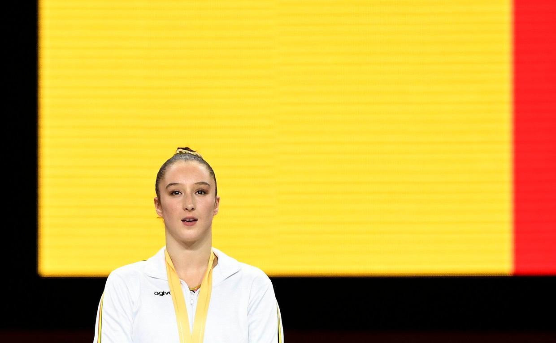 Gymnaste Nina Derwael was dit jaar de enige atlete die goud won op een WK.