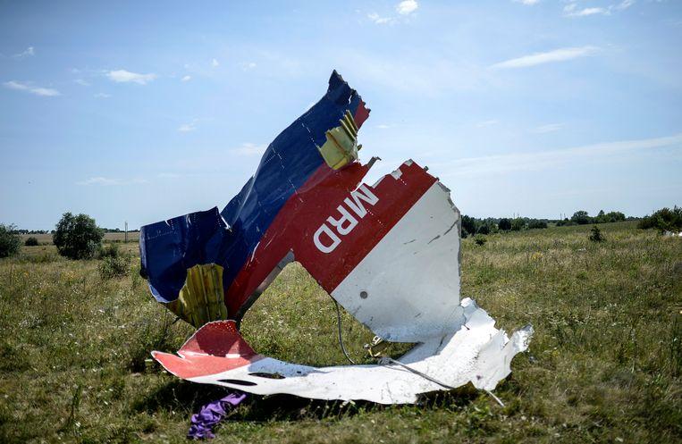 Een brokstuk van vlucht MH17 vlakbij Hrabove.  Beeld AFP