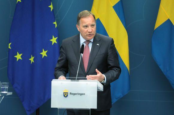De Zweedse premier Stefan Löfven op de persconferentie vanmiddag.