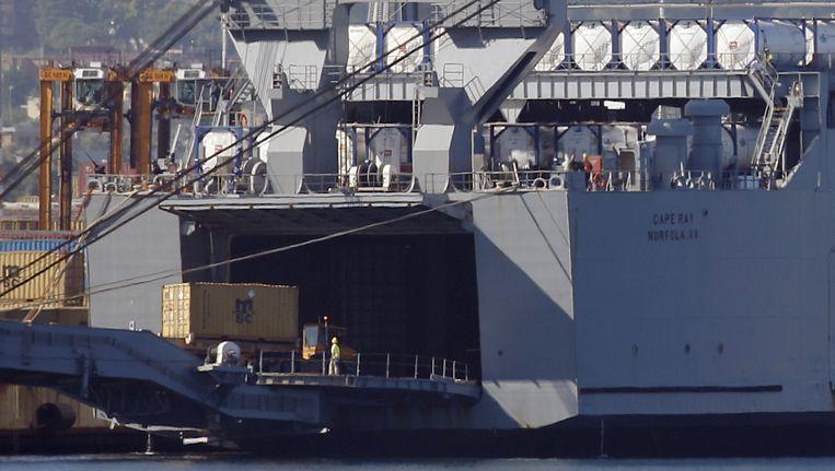 Het Amerikaanse schip Cape Ray. Beeld ap