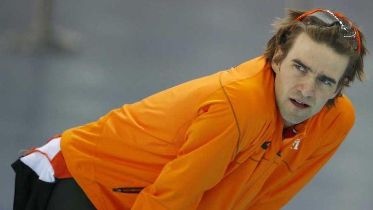 Mark Tuitert tijdens zijn rit op de 1000 meter in de Adler Arena. Beeld anp