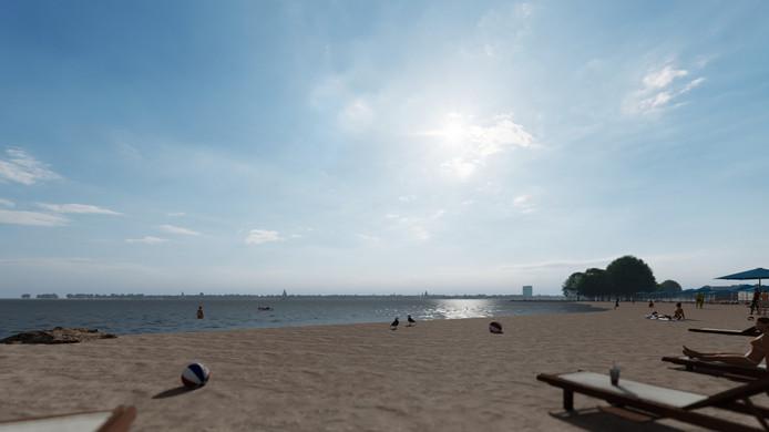 Impressie van de skyline van recreatiegebied Strand Horst met eventuele komst van een hotel (bij een maximale hoogte van 60 meter). De foto is genomen vanaf het strand van Zeewolde.