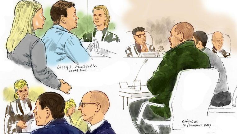Rechtbanktekening van verdachten Lizzy S., Huibert V., Daniel C., Willem V. en Robert B. Beeld ANP