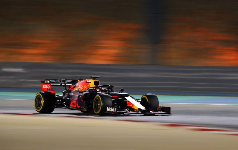 Max Verstappen op het circuit in Bahrein. Beeld null
