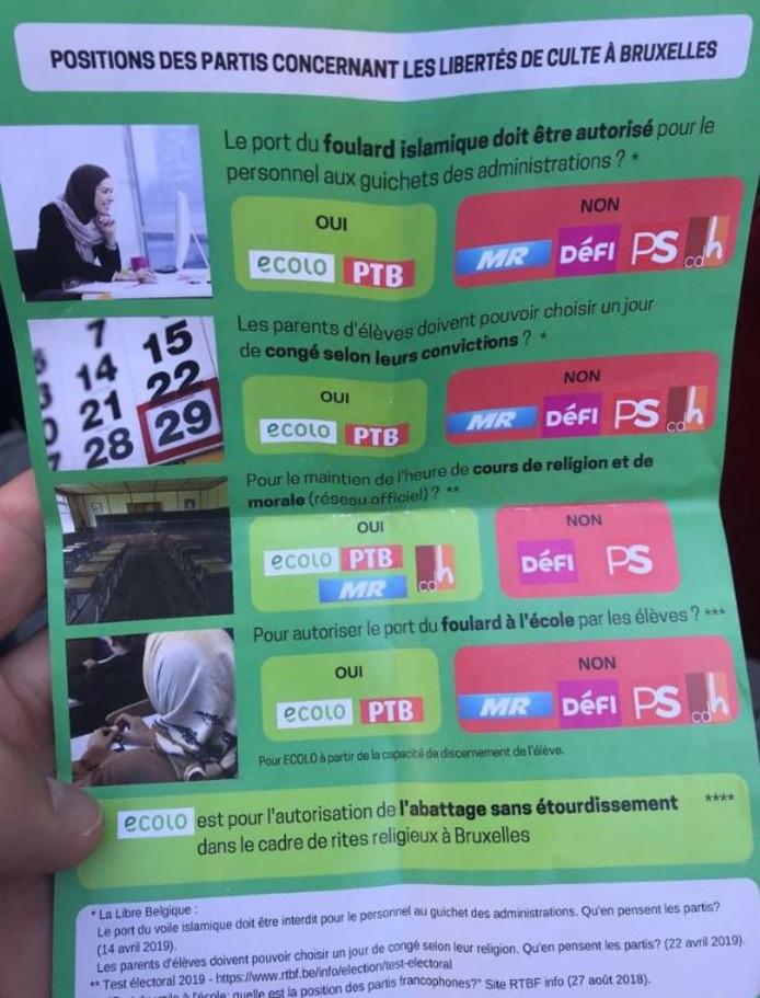 Le tract polémique d'Ecolo