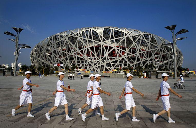 Het 'Vogelnest' in Peking, dat vanaf 23 augustus de Olympische Spelen huist. Beeld ANP