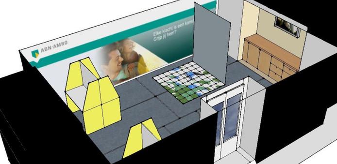 Het ontwerp voor de 'Mobile Talent Room', zoals Steven Duinhouwer het presenteerde bij de ABN Amro.