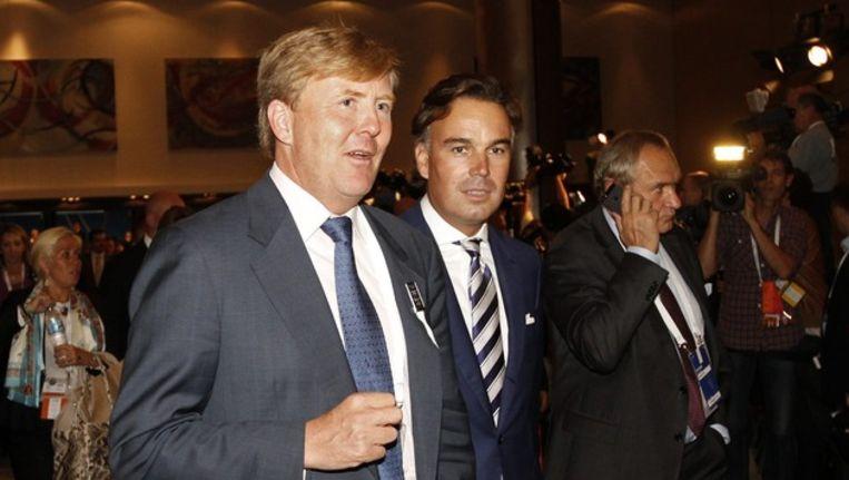 Camiel Eurlings met koning Willem-Alexander eerder deze week in Buenos Aires. Beeld epa