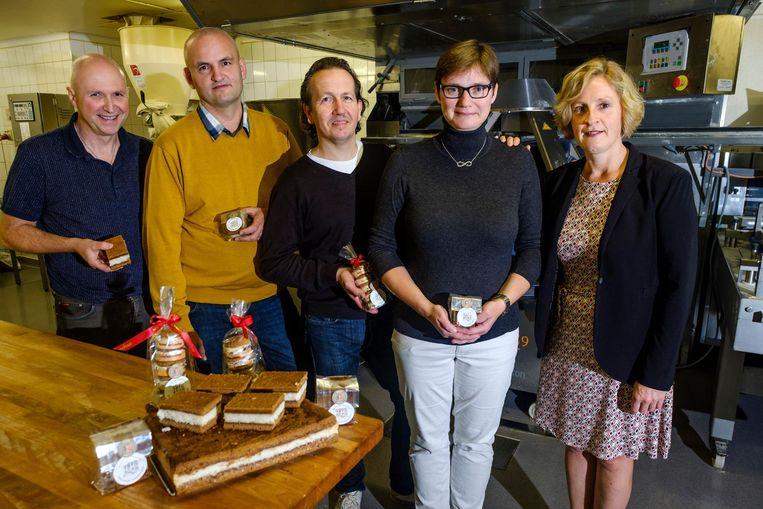 Werner Peeters (bakkerij Peeters), Ivan Gryp (bakkerij Sint-Rita), Johan Mylemans (bakkerij Mylemans), Kristin Brouwers (Mylemans) en schepen Marleen Van den Eynde.