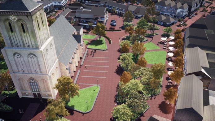 Het plein bij de kerk met rechts de terrassen van onder andere zalencentrum en café Jan&Jan en grasvelden op de plekken waar nu nog parkeerplaatsen zijn.