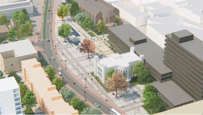 Indicatief beeld van het Stadsforum zoals het er in 2022 ligt.