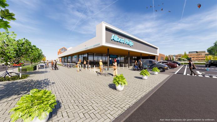 De voorzijde van de nieuwe Albert Heijn-supermarkt  aan de Stationsdwarsweg in Rijssen.