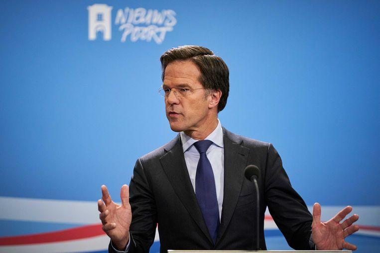 Premier Mark Rutte tijdens een persconferentie na afloop van de wekelijkse ministerraad.  Beeld ANP