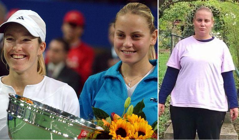 Links: Jelena Dokic (r) met Justine Henin na de finale van een toernooi in het Zwitserse Zürich in 2003. Rechts: Dokic toen ze in oktober 2018 ongeveer 120 kilogram woog.