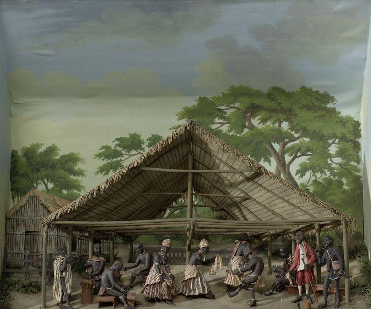 Diorama van een 'slavendans' in Suriname, Gerrit Schouten, 1830. Beeld Gerrit Schouten / Rijksmuseum