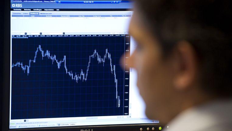 Een beurshandelaar houdt de beurskoersen in de gaten. Beeld ANP