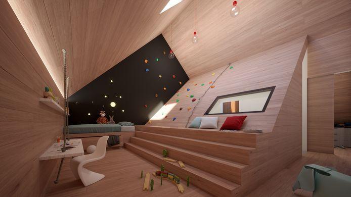 Van de zolder kun je ook echt een speelkamer maken.