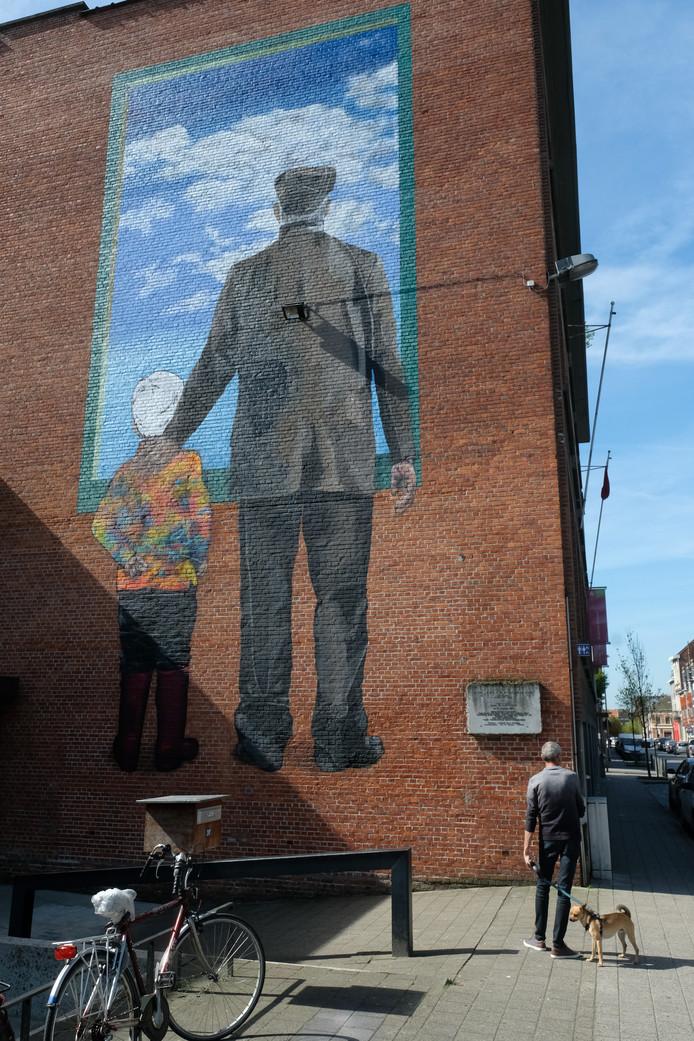 Street art op de gevel van de Merksemse bib