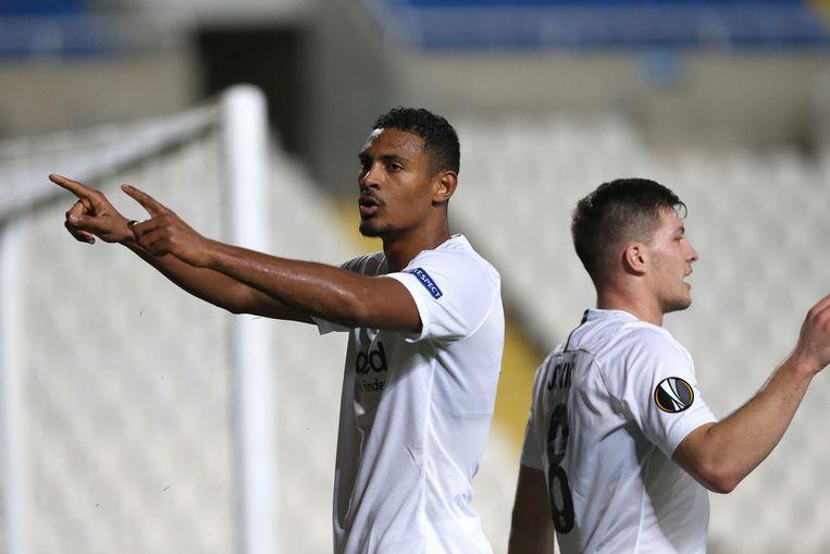 Sebastien Haller (links), auteur van één van de drie Frankfurt-goals in Limassol.