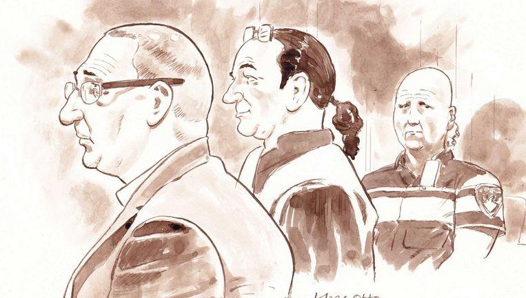 Rechtbanktekening van Otto (links) tijdens pro formazitting in de rechtbank van Breda. Beeld anp