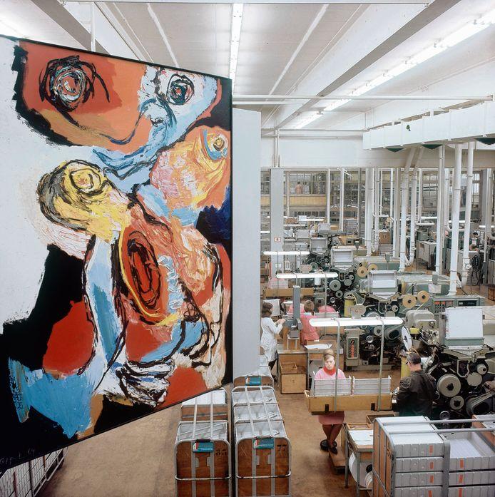 Werk van Karel Appel in de voormalige Zevenaarse sigarettenfabriek. Een groot deel van de collectie is destijds geveild bij het vermaarde Sotheby's. ARCHIEFFOTO PAUL BERGEN