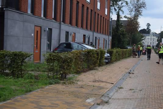 De auto kwam tot stilstand tegen dit appartement aan de Ruimzichtlaan in Doetinchem
