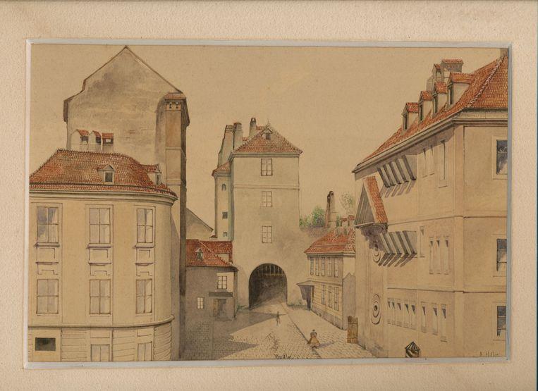 De aquarel verbeeldt de Neutor in Wenen en is gesigneerd met 'A.'Hitler'.