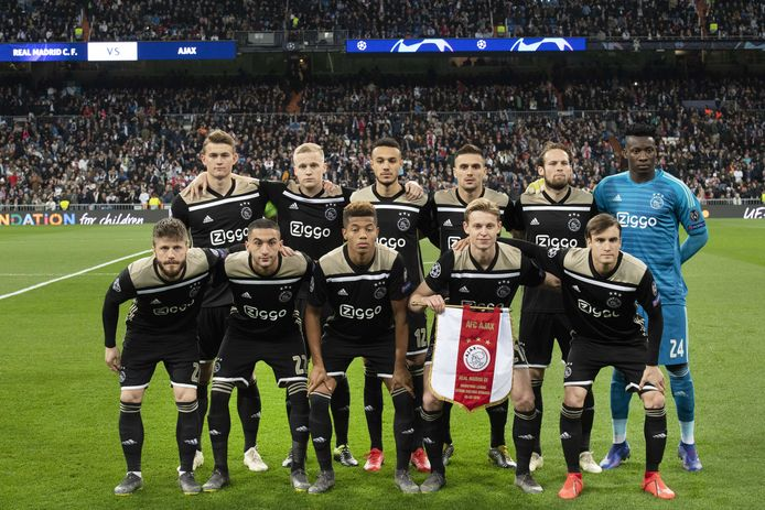 De basiself van Ajax voor de uitwedstrijd bij Real Madrid (1-4 winst) vorige week dinsdag.
