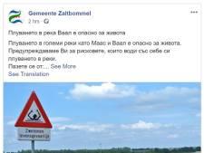 Zaltbommel waarschuwt in meerdere talen voor zwemmen in de Waal