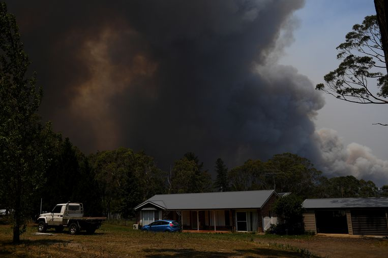 Een grote brandhaard in Bilpin, New South Wales