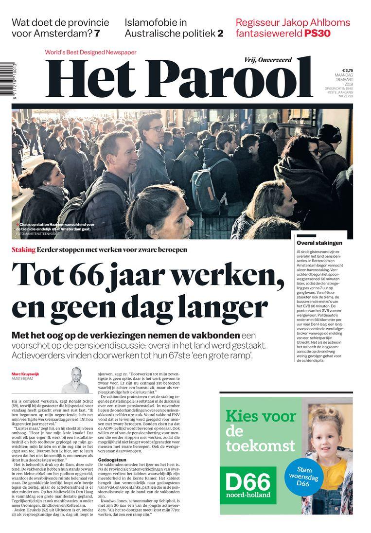 De voorpagina van 18 maart 2019, zonder nieuws over de aanslag in Utrecht. Beeld Het Parool