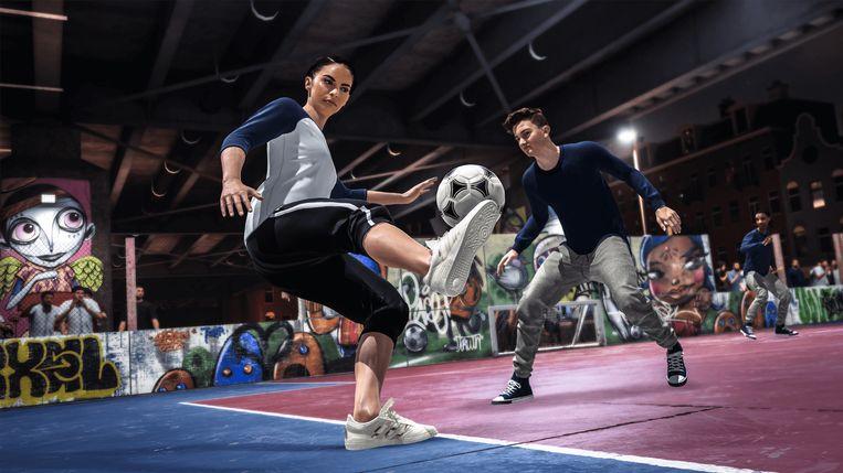 Beeld uit Fifa 20, een game met een vrouwelijke heldin bij het pleintjesvoetbal. Beeld FIFA