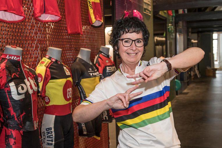 Rapster Christa Vansteenkiste mocht met de ploeg van Iedereen Beroemd het beste van zichzelf geven in het Wielermuseum, dat pas volgend weekend officieel opent.