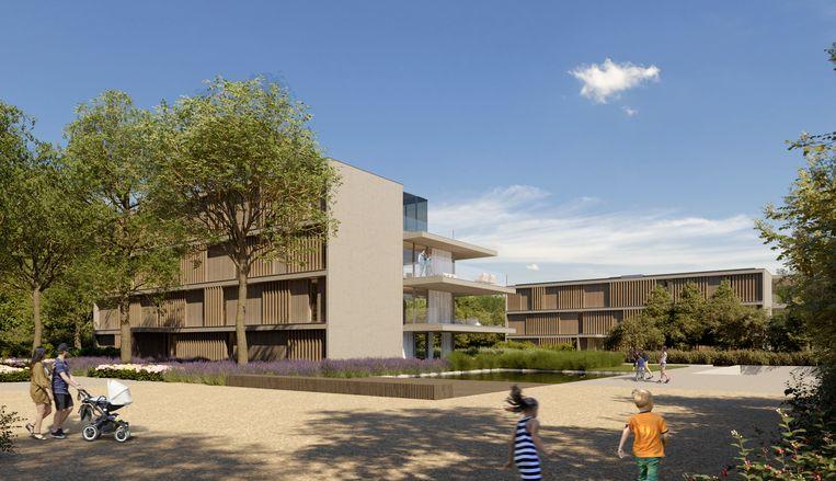 Een detail-conceptbeeld van de eerste woonblokken van project Blauwpoorte, een project van Urbes.