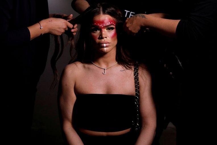 Transgender model Jessica Cortez bij de New York Fashion Week Beeld REUTERS