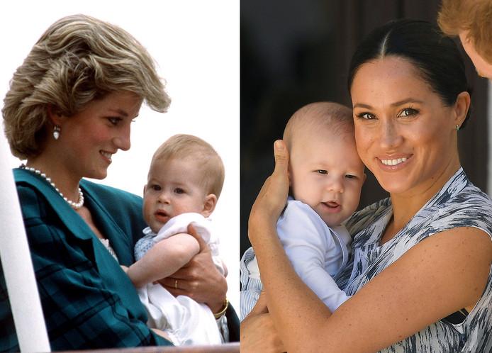 Prinses Diana met de kleine Harry (links), Meghan met Archie (rechts)
