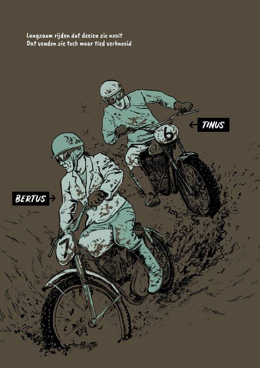 De hoofdfiguren uit 'Oerend Hard': Bertus ('op zien Norton') en Tinus ('op zien BSA'), getekend door Marc Weikamp.