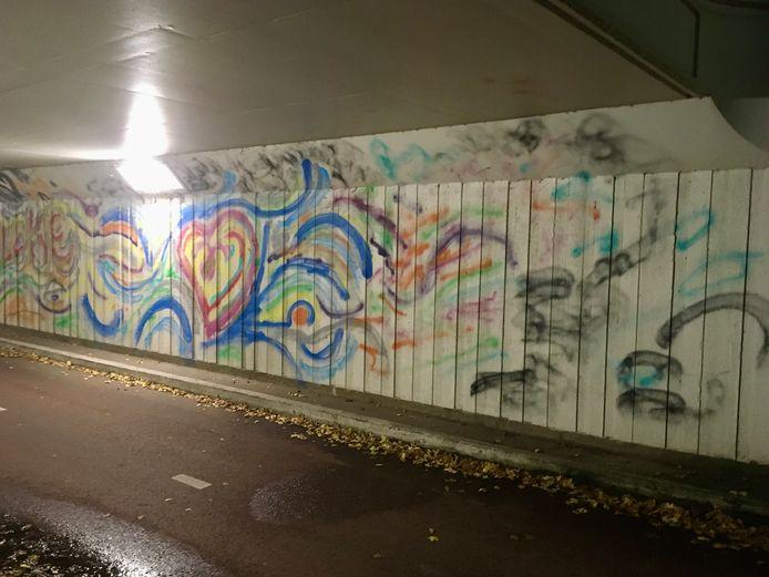 Fietstunneltje in Nuenen waar weer volop graffiti op de muren staat.