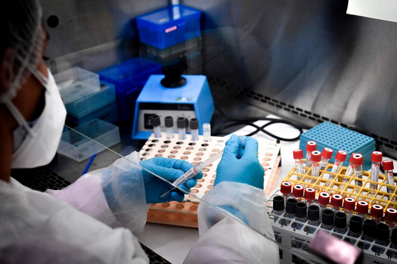 Afgenomen testmateriaal wordt geprepareerd voor een analyse op de aanwezigheid van het coronavirus.