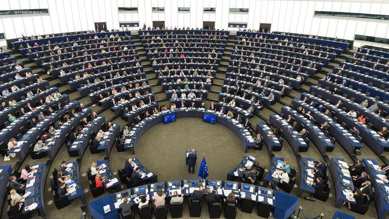 Commissievoorzitter Jean-Claude Juncker tijdens de jaarlijkse Europese 'State of the Union'. Beeld epa