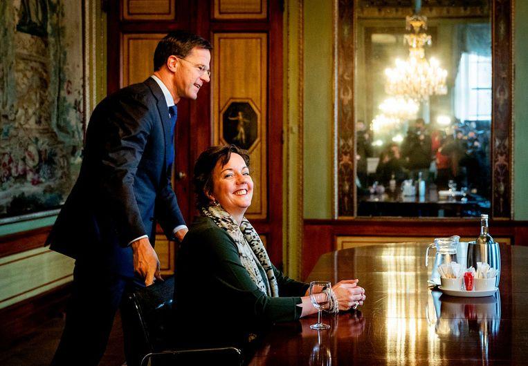Tamara van Ark (VVD) in de Stadhouderskamer voor een gesprek met formateur Mark Rutte. Beeld anp
