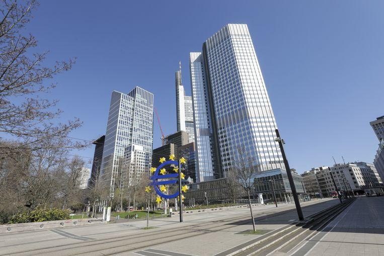 Het voormalige hoofdkantoor van de Europese Centrale Bank in Frankfurt.  Beeld null